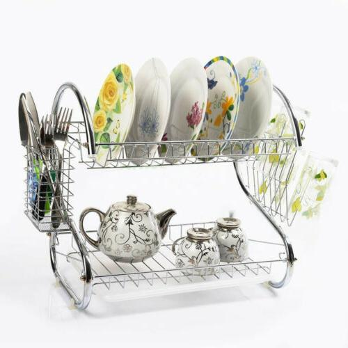 Home 2-Tier Multi-function Stainless Steel Dish Drying Rack,