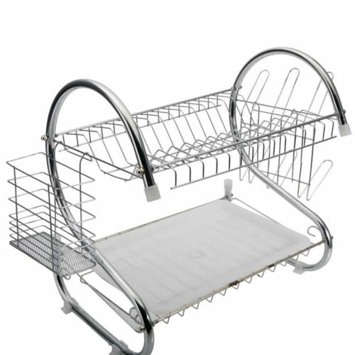 Large Capacity 2 Dish Cup Drying Rack Storage