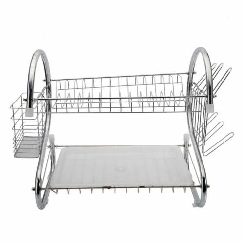 Large Capacity 2 Tier Dish Drainer Drying Rack Kitchen Stora