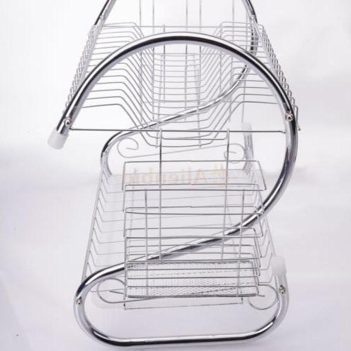 Kitchen Dish Rack Holder 2-Tier Dryer Stainless