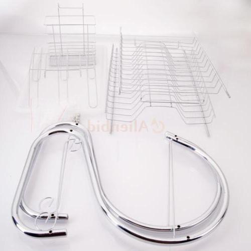 Kitchen Cup Rack Holder Sink Drainer 2-Tier Dryer Steel