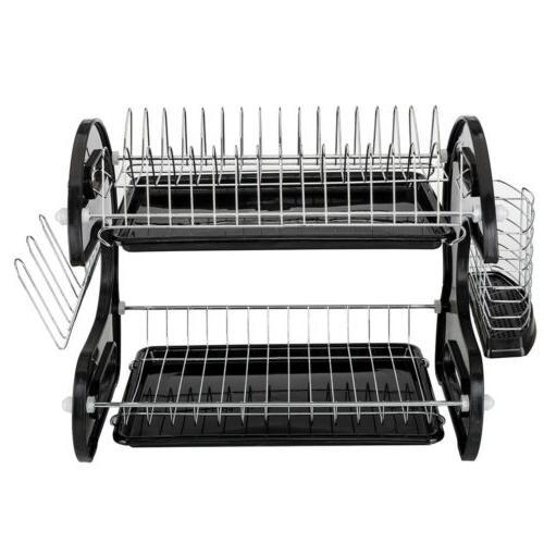 New Home Basics 2 Tier Black Dish Drainer Drying Rack Washin