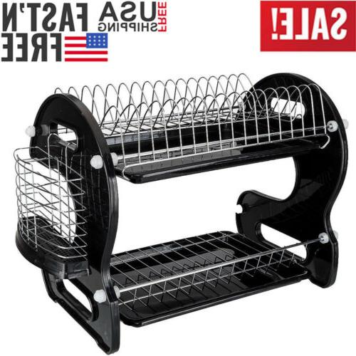 us 2 tier dish drying rack stainless