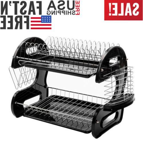 US 2-Tier Dish Drying Rack Kitchen