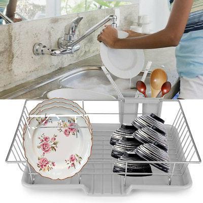 Kitchen Dish Drainer Tray Cutlery Holder