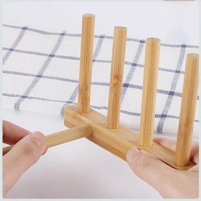 Kitchen Dish Plate Drying Drain Holder Storage Bamboo Rack 3/6 Grid