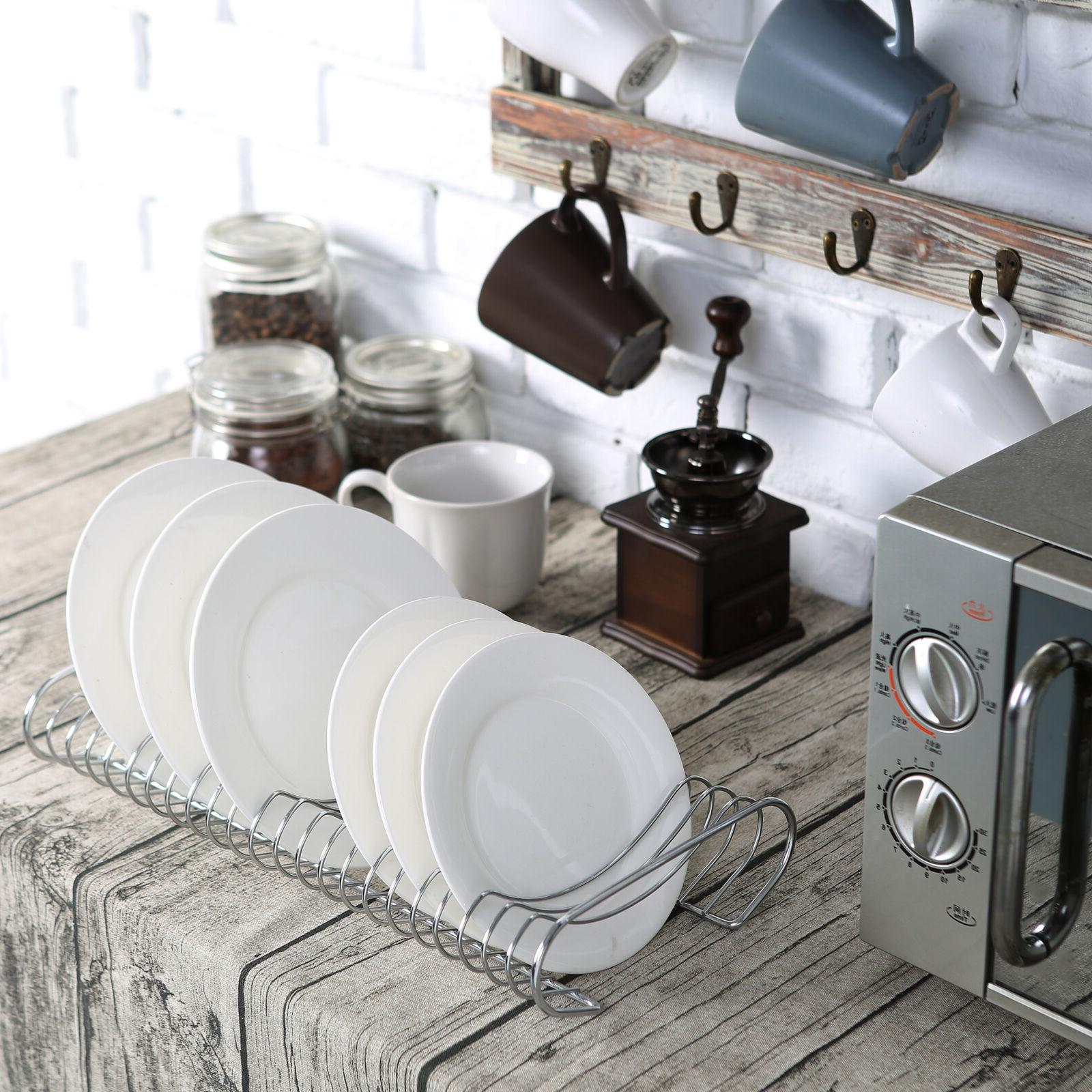 Kitchen Plate Organizer and Rack, Chrome-Plated