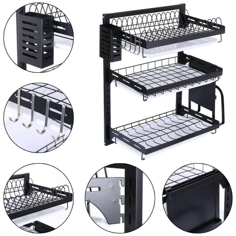 3 Tier Home Kitchen Dish Rack Drying Dish Organizer Storage