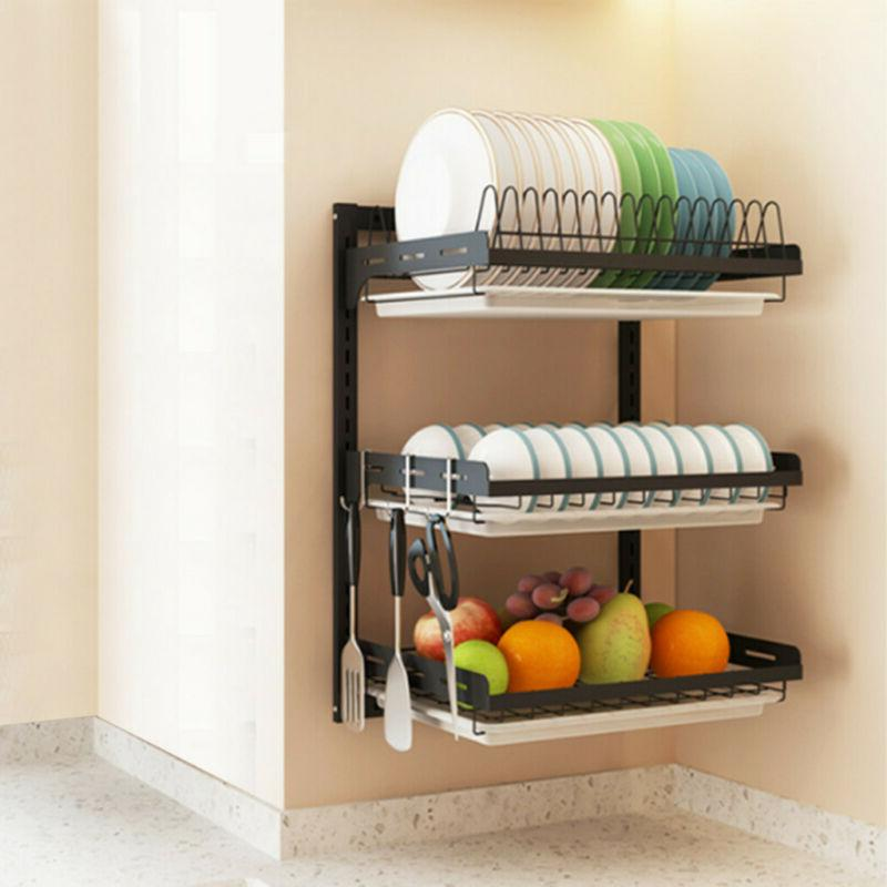 3-Tier Wall Dish Drying Rack Organizer Home Kitchen Collecti