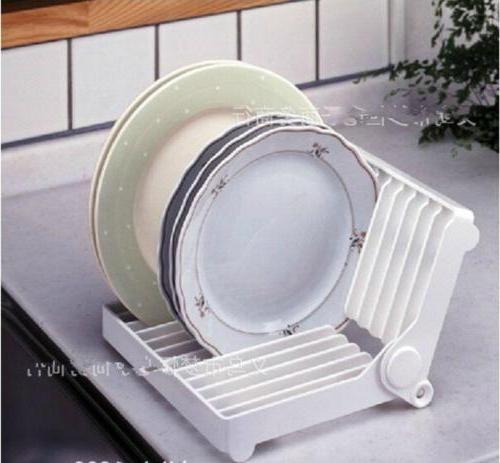 Kitchen Foldable Plastic Dish Plate Drying Rack Organizer Dr