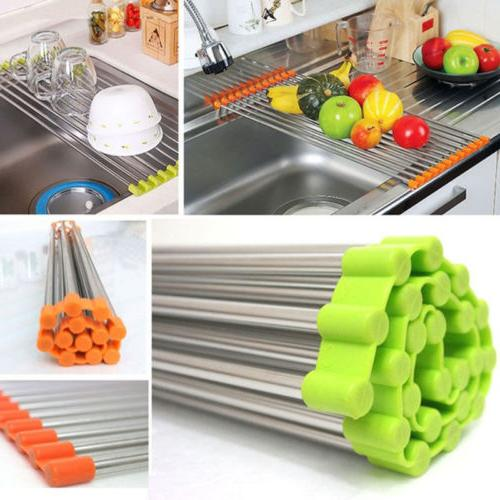 Kitchen Large Roll Up Dish Drying Rack Holder Over the Sink