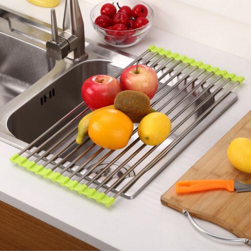 Over the Sink Multipurpose Roll-Up Dish Drying Rack Pan Bott