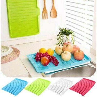 Kitchen Plastic Tray Dish Drainer Large Sink Drying Rack Hom