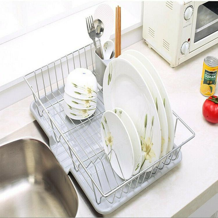 Kitchen Sink Dish Drying Rack and Board with Chopstick Holder