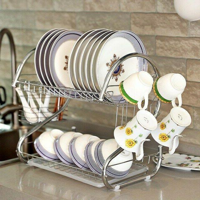 Kitchen Tier Dish Drying Storage Cup Shelf