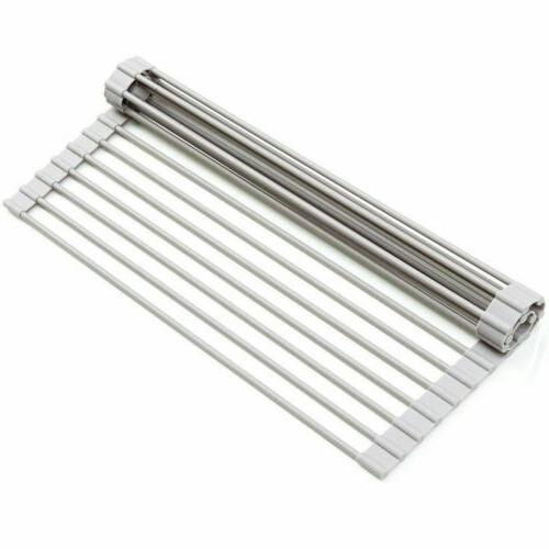 """Large 20.5"""" Sink Roll-Up Dish Rack 19 Steel"""
