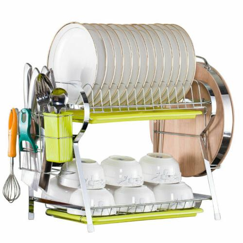 Large Capacity 2-Tier Dish Drainer Chopsticks Cups Drying Ra