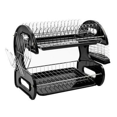 Kitchen Dish Cup Drying Rack Holder Sink Drainer 2 Tier Drye