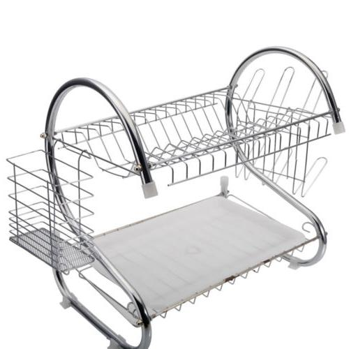 2 Tier Stainless Steel Drying Rack Kitchen Dishes Bottle Dra