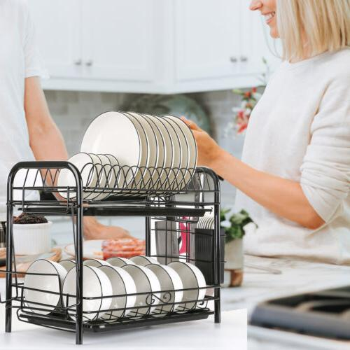 2-Tier Dish Drying Rack Dish Rack Drainer Holder Kitchen Sto