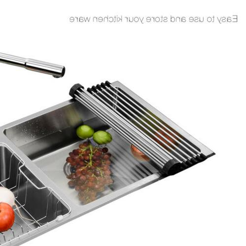 Over the Roll-Up Dish Rack Pan Food Drainer Mat