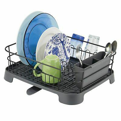 mDesign Large Kitchen Counter Dish Drying Rack with Swivel S