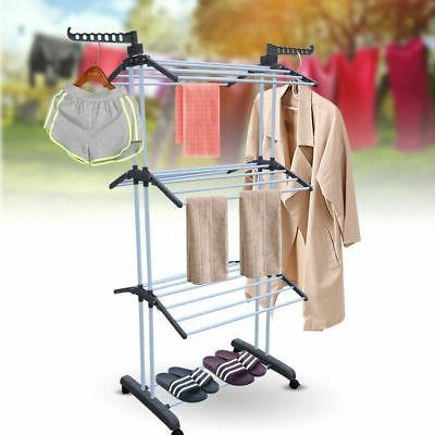 3 Laundry Organizer Folding Drying Rack Clothes Dryer Hanger NEW