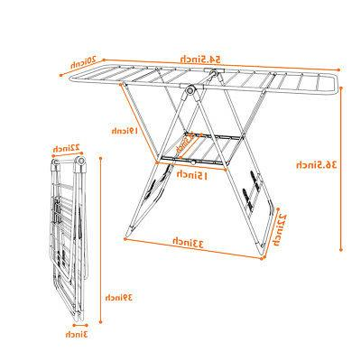 Laundry Clothes Rack Portable Hanger Heavy Duty