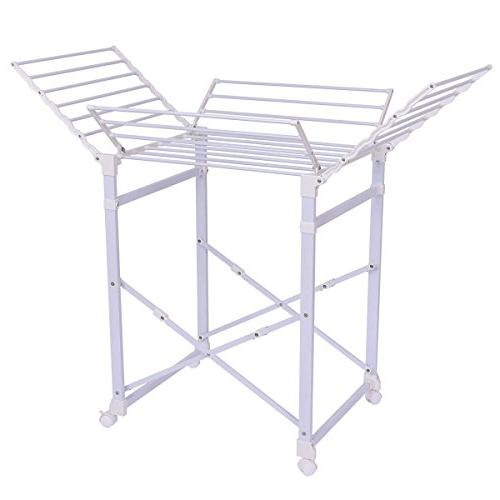 Laundry Clothes Storage Drying Rack Portable Folding Dryer Hanger w//Wheels White