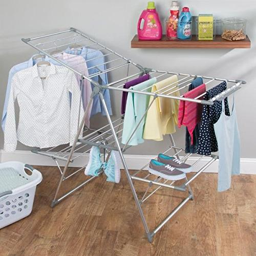"mDesign Drying Rack - Collapsible Clothes Drying Rack Up 62"" - Folding Rack for Laundry Rooms Silver/Gray"