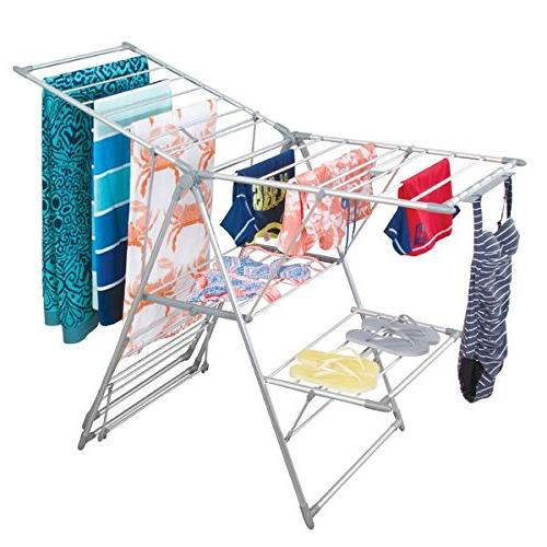 mDesign Drying Clothes Drying Rack - Accordion Drying Up to Folding Laundry Laundry Rooms -