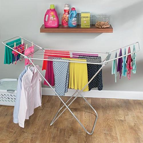 """mDesign Drying with Bars - Clothes Accordion Rack - Up 68.3"""" Laundry Rooms Silver/Gray"""