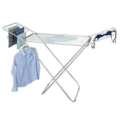 mDesign with Bars Clothes Drying - Accordion Drying Rack - Up Folding Laundry Rooms - Silver/Gray