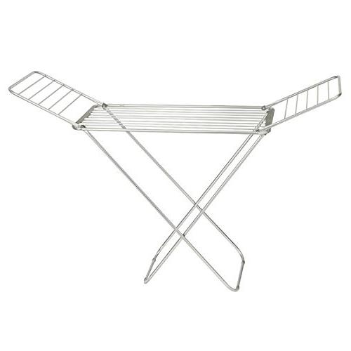 mDesign with Bars Clothes Rack Accordion Drying Rack Up Folding Rack for Laundry - Silver/Gray