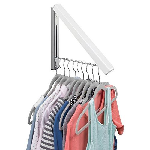 mDesign Home Storage Collapsible Wall Mount Drying for Laundry Room - Coats, Robes, Dry Cleaning, More White