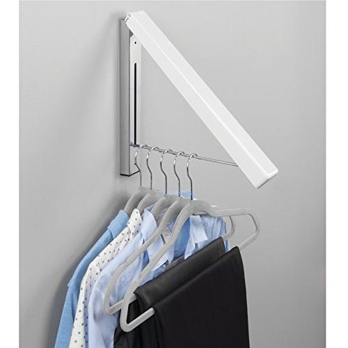 mDesign Design Home Collapsible Wall Mount Hanger Drying Room Coats, Dry Cleaning, More White