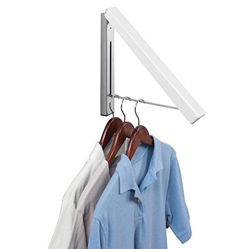 mDesign Compact Home Wall Mount Clothes Drying Rack for Room - Hang Clothing, Coats, Robes, Dry More -