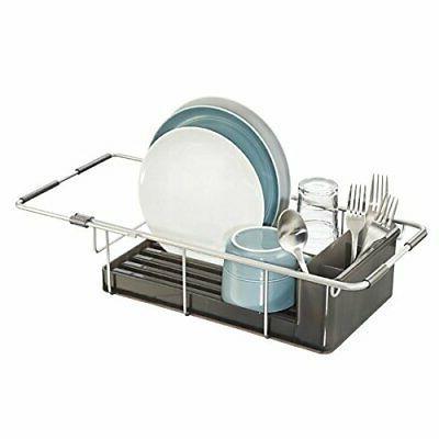 mDesign Rustproof Aluminum Over-the-Sink Dish Drainer Rack f