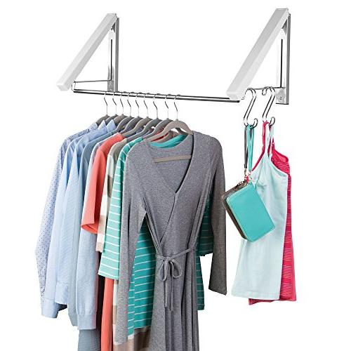 mDesign Wall and Plastic Clothes Holder Storage for Laundry Bathroom or