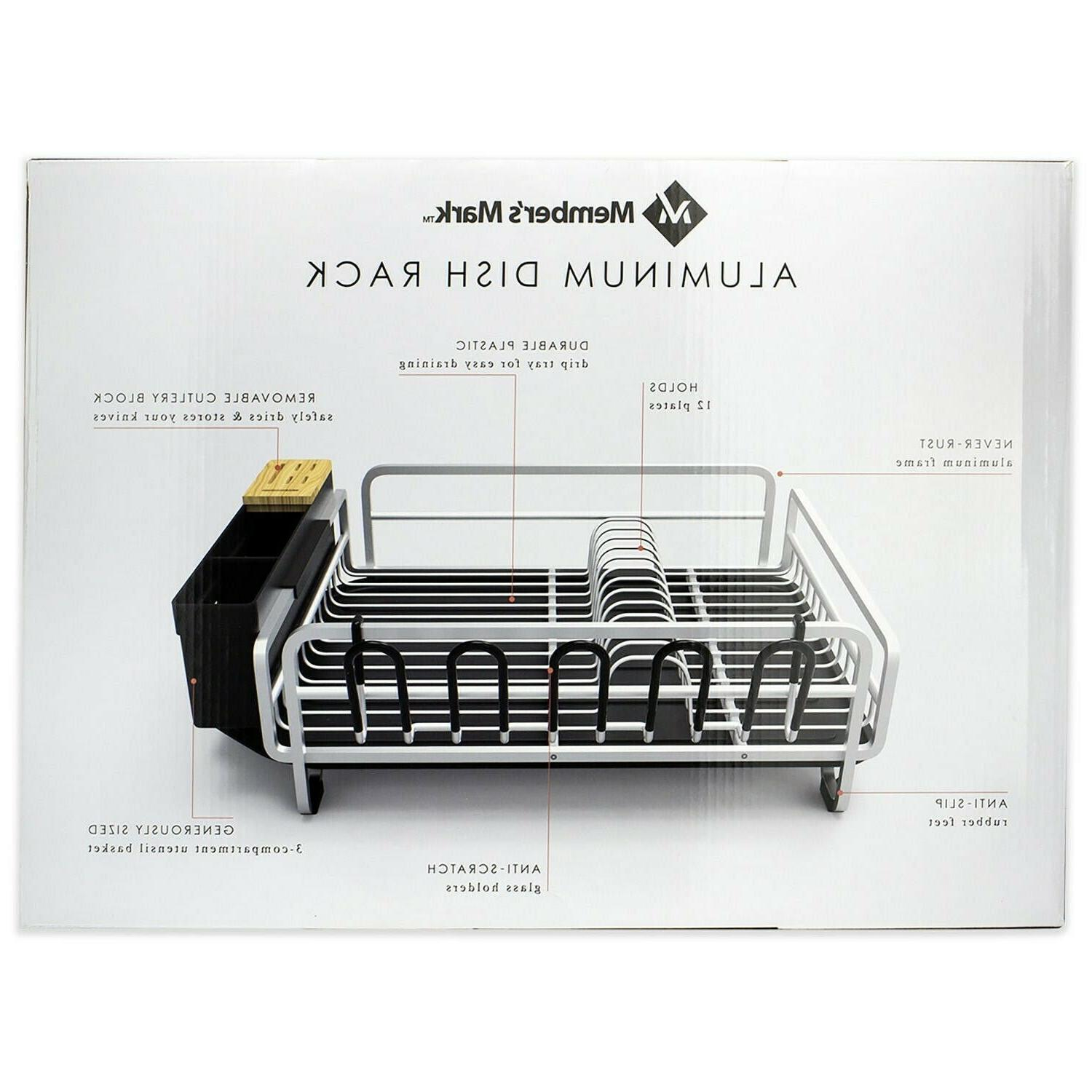 Aluminum Drying Rack w/ Drainboard for Kitchen Countertop