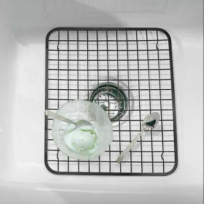 mDesign Kitchen Sink Dish Rack / Mat, Grid Design
