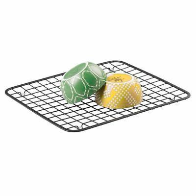 mDesign Metal Sink Dish Drying Rack Mat, Grid