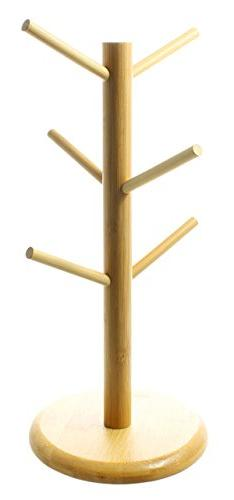 Natural Bamboo Wood Tree Shape Rack Holder Organizer for 6 C