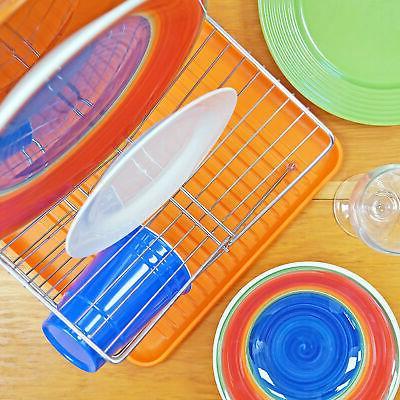 Orange Dish Drying with Folding Holder Dishwasher Kitchen Tool