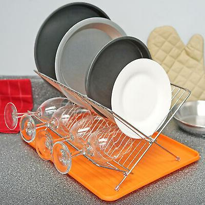 Orange Dish Drying with Holder Kitchen Tool Cleaning