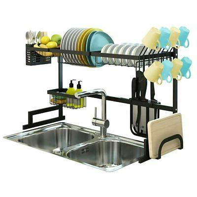 Over Sink Dish Drying Rack Drainer Steel Kitchen USA