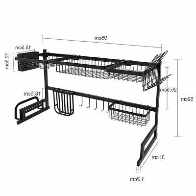 Over Sink Dish Drying Rack Steel Kitchen Shelf