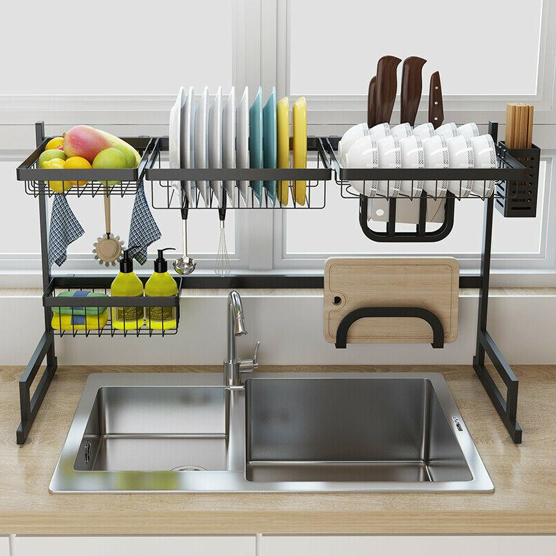 Over Sink Dish Rack 2-Tier Cutlery