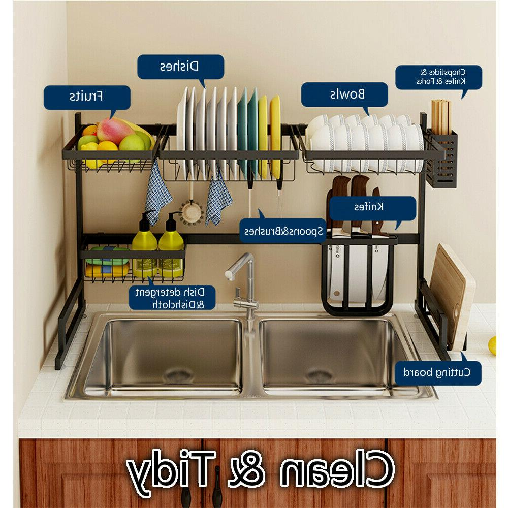 Over Dish Rack 2-Tier Steel Cutlery Kitchen
