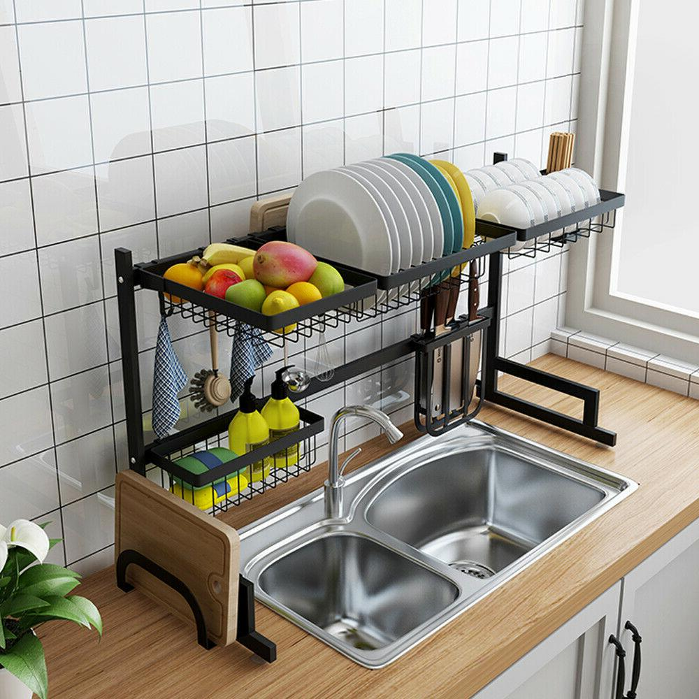Over Sink Drying Rack 2-Tier Stainless Cutlery Drainer Kitchen Shelf